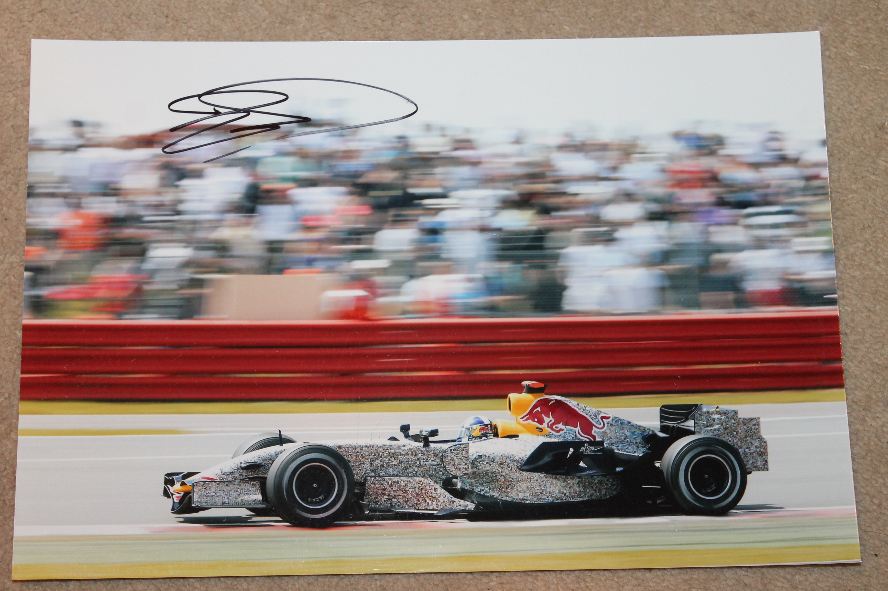 DAVID COULTHARD SIGNED RED BULL PICTURE